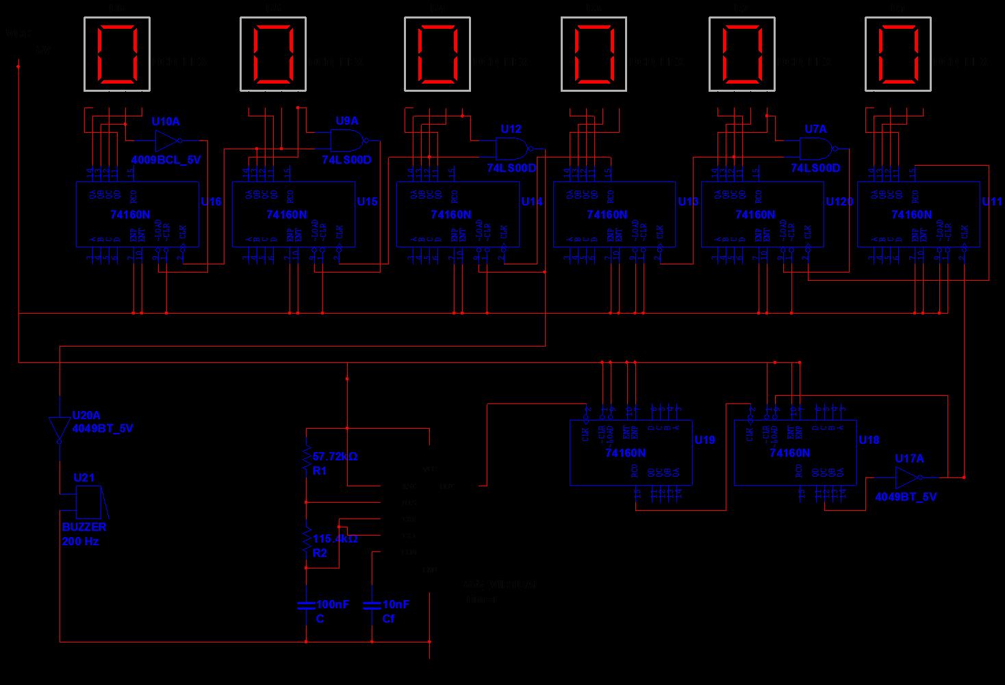 求数字电子钟电路设计(接线图)