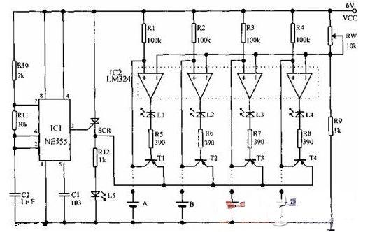 该电路由ne555构成多谐振荡器,其输出端控制可控硅的通断;ic2为电压